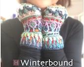 Winterbound Fingerless Gloves – crochet gloves, overlay crochet, colourful gloves, winter gloves