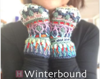 Winterbound Fingerless Gloves – crochet gloves, overlay crochet, colourful gloves, winter gloves