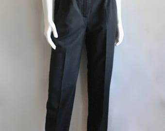 Vintage Women's 80's Black Pants, High Waisted, Tapered Leg (M)