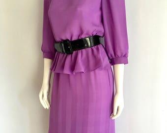 Vintage Women's 80's Peplum Dress, Colorful, 3/4 Sleeve by Jody (M)