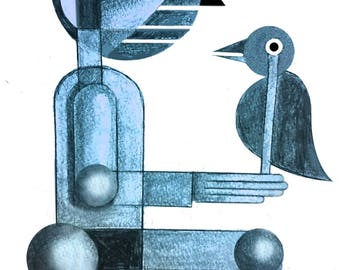 """original abstract  """"man with bird"""""""