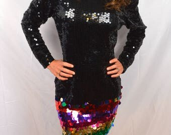 Wow 80s 90s Rainbow Sequin Mini Party Dress - By Cache