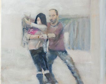 Wrapped - Connection: Swing Dance Paintings exploring human connection and communication through dance, Original Oil Painting on Canvas