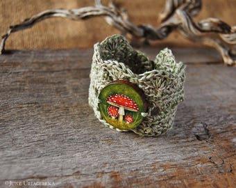 Mushroom, Hand Painted Woodland Bracelet/Cuff, Forest Jewelry