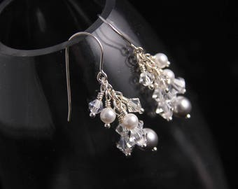 Ice Crystal Pearl Cluster Earrings