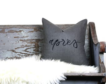 "18""x18"" Dark Gray Linen with Black Ink ""Aprés"" Pillow Cover"