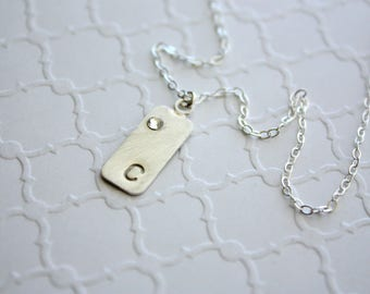 Hand Stamped Bar Necklace , Silver Bar Necklace , Initial Bar Necklace , Crystal Birthstone, Vertical Bar Necklace