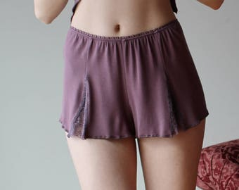 bamboo sleep shorts with lace godets - NOUVEAU bamboo sleepwear range - made to order
