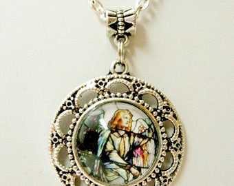 Easter Morn Angel by Tiffany stained glass window pendant with chain - AP05-067
