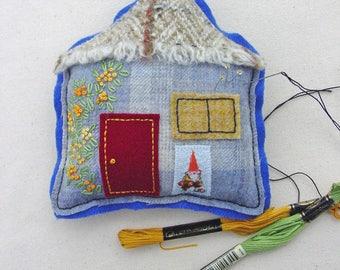 House Pincushion - Handmade OOAK Pincushion - Wool House - Cottage Pincushion - OOAK Pincushion  - Garden Gnome - Gnome Decor - Felt Art