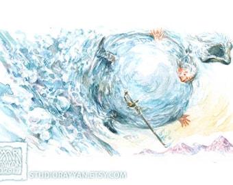 Baron in a Snowball - extraordinary adventures of Baron Munchausen watercolor illustration