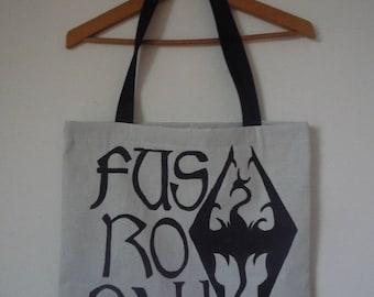 Tote Bag unbleached quote Skyrim Fus Ro Dah