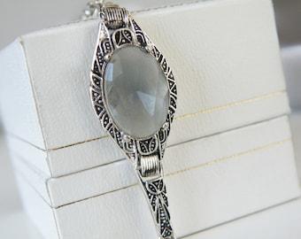Vintage Art Deco Silver Rhodium Aquamarine Blue Glass Gemstone Feminine Dainty Bracelet