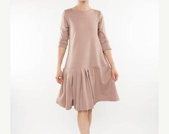 SALE - Unique dress | Flared dress | Light pink dress | LeMuse unique dress