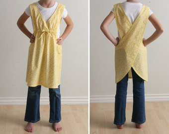 Japanese Apron Sewing Pattern PDF - The BACK WRAP- Child's Size Instant Download Sewing Pattern #224 - Sizes XSmall thru Large (3-12)