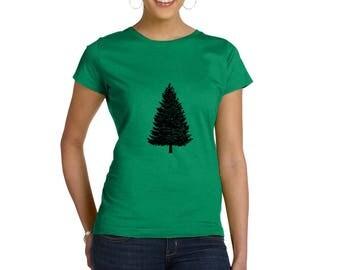 Christmas Tree Shirt For Women, Holiday Tshirt, Short Sleeve Cotton Crewneck, Hand Printed Pine Tree Camping Shirt Forrest Graphic Tee Shirt
