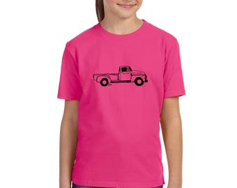 Truck Shirts For Girls and Boys, Vintage Truck Tshirt Youth Classic Pick-up Truck, Country Chic Southern Children's Graphic Tee Kids Clothes