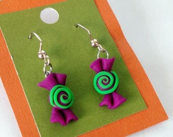 Halloween Candy Earrings - Green and Purple Options