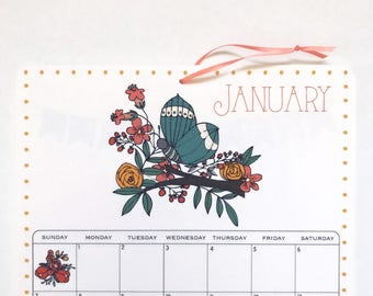 2018 Wall Calendar, size 8.5x11 inches featuring 12 different illustrations in green, blue,teal, aqua, gray, yellow, coral, mustard and gray