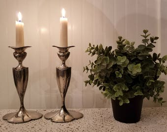 Antique Pair of Simpson Hall Miller H.M. & Co. Art Nouveau Silverplated Candlesticks Candleholders Bobeches. Rustic Distressed Vintage Charm