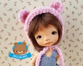 Pink bear hat helmet for 5-6 inches heads Irrealdoll Pukifee Lati Yellow Mui chan
