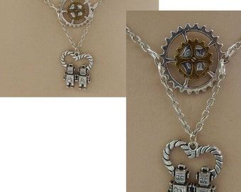 Silver Retro Robot Love Pendant Necklace Jewelry Handmade NEW Accessories