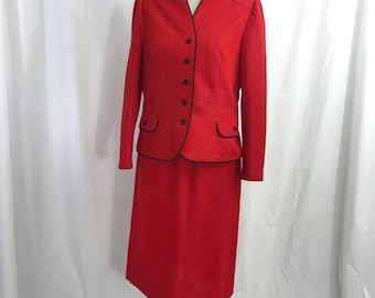 Vintage 70s Red Marty Gutmacher 2 Piece Suit M/L