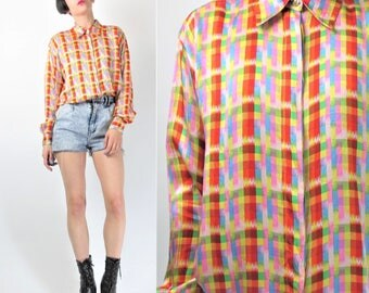 80s 90s VERSACE Blouse Versus Gianni Versace Neon Silk Blouse Designer Checkered Plaid Abstract Womens Long Sleeve Button Down Shirt E8097