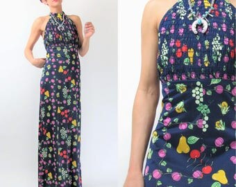 Vintage 70s Fruit Print Dress 1970s Halter Maxi Dress Green Navy Blue Long Backless Elasticized Grapes Cherry Novelty Print Dress S/M E10089