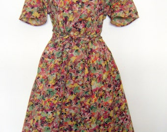 vintage Abstract PAINT SPLATTER 1940's DRESS, size large 14 - 16