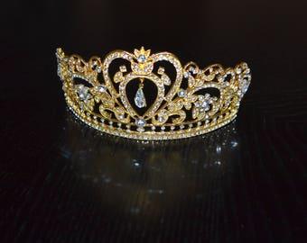 Gold Rhinestone Wedding Tiara, Royal bride, Bridal Crown, Gold Princess Crown, Princess Tiara, Gold Bridal Tiara, Gold Tiara, Gold Crown