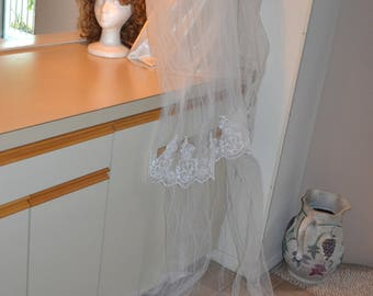 Two tier Cathedral  Veil, Lace Wedding Veil, Long veil, Lace Bridal Veil,  Ivory Wedding Veil, Bridal Veil, Ivory veil