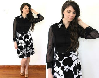 70s Sheer Sleeves Dress / 1970s 1960s Mod Floral Black and White Dress