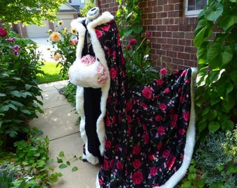 Legend of Zhen Huan Bridal cape 65-inch Red-Rose / Black Satin wedding cloak Reversible (2-tone) Hooded with fur trim Handmade in USA