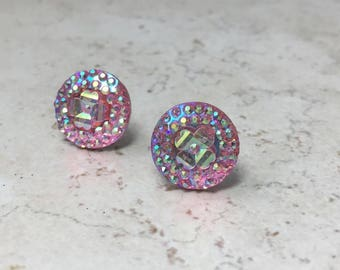 Baby Pink Sparkly Faux Crystal Earrings, Bubblegum Pink Geometric Stainless Steel Studs, Galaxy Inspired Jewelry