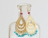 Turquoise & Ruby Gold Chandelier Earrings
