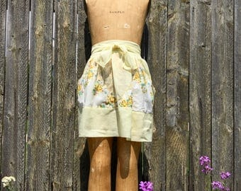vintage half apron sheer yellow with floral handkerchief pockets
