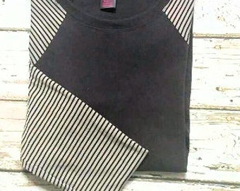 Black and Gray Stripe Baseball Sleeve Tunic