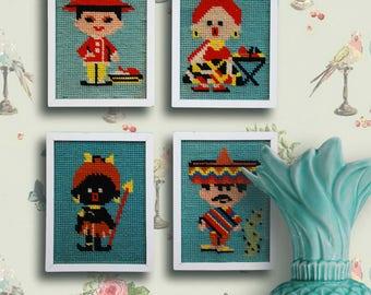Embroidered  vintage frames of ethnic groups