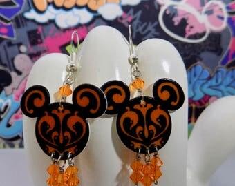 Mickey Mouse Black and Orange Swirled Dangle Earrings