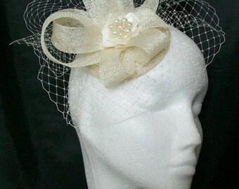Ivory Cream Veil Sinamay Loop & Pearl Bridal Wedding Fascinator Mini Hat - Custom Made to Order