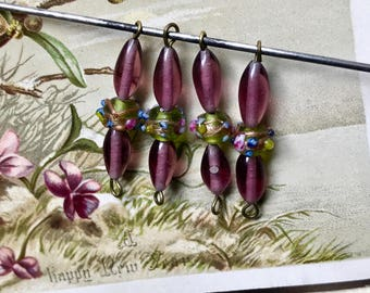 Vintage Glass Connectors, Wedding cake beads, Miriam Haskell beads, Amethyst Beads, Victorian Connectors, vintagerosefindings, #999J