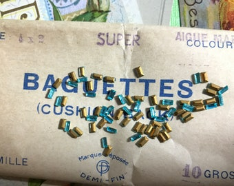 French Antique glass Rhinestones, Baguettes rhinestones, Sapphire baguettes, 4x2mm France Vintage Blue Tiny #G83F