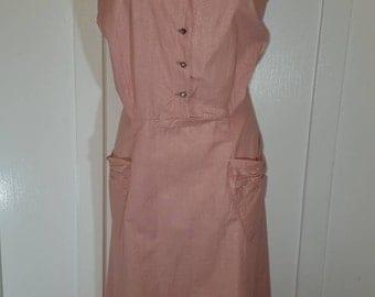 Vintage Pink Sleeveless Cotton Dress Rhinestone Buttons Plus