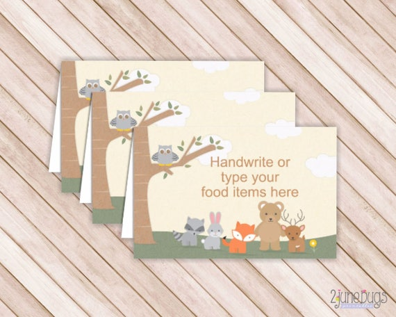Woodland Forest Animals Buffet Cards Food Labels Tent Cards Place