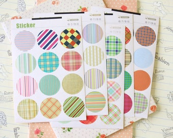 Plaid & Gingham Coffee X Point Stickers round paper fancy pattern deco seals