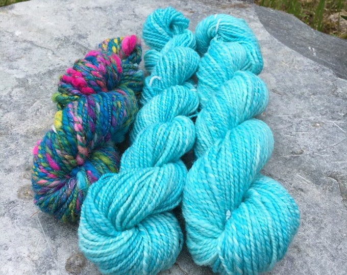 Featured listing image: Handspun Yarn Pack / Weaving Pack / Knitting Pack - Under the Sea / Turquoise - 140 grams - 230 yards