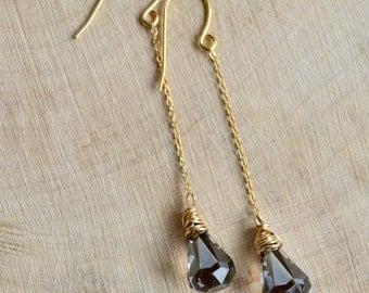Crystal Satin Raindrop Earrings