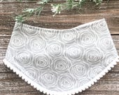 Grey Rose Print Bib - Pom Pom Bibdana - Baby Girl - Baby Shower Gift - Gray and White Roses Posies - Floral Print - Flower Print Bib