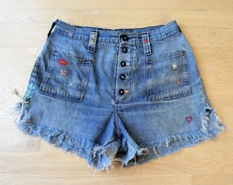 Vintage Hand Embroidered High Waist 5 Button Fly Frayed Cut-Off Jean Shorts, Naturally Distressed 70s Woman's Blue Denim W 29 1/2 & Freebie!